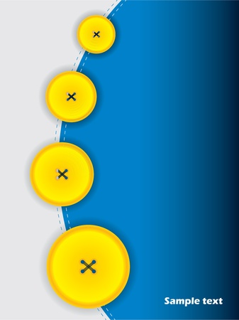Abstract brochure designin blue  with yellow buttons Vector
