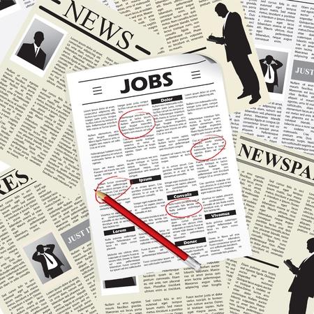 them: Ricerca di un lavoro in giornali e selezionandoli