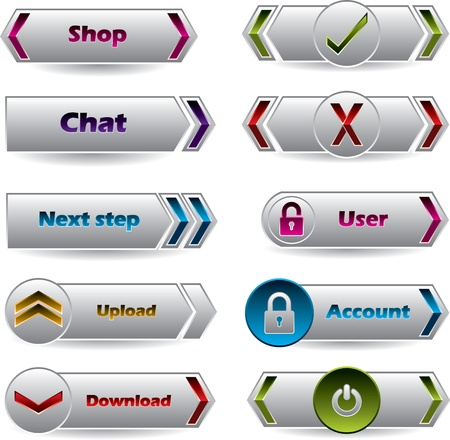 lock  futuristic: Cool new buttons with various glossy colors wor the web