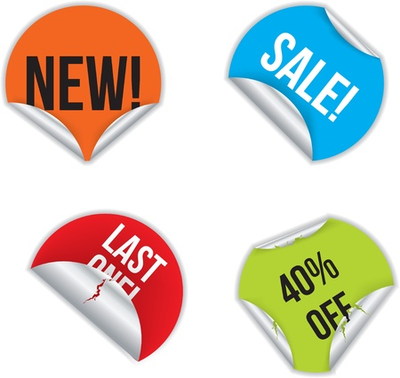 Various color stickers with discounts and advertising Stock Vector - 10932294
