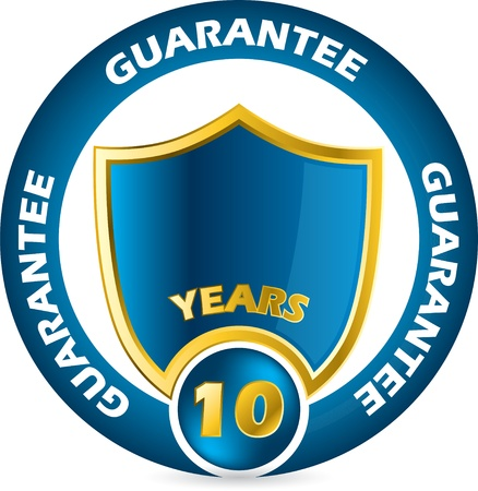 Guarantee icon design in blue and gold colors Vector