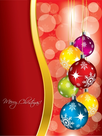 holiday invitation: Red christmas greeting card design with color decorations