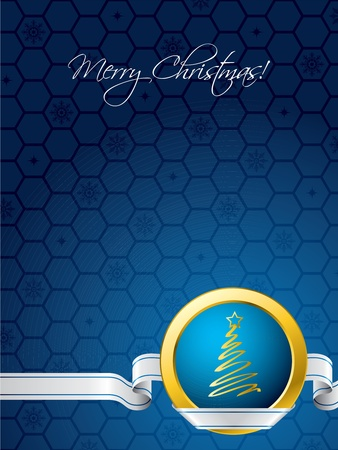 christmastree: Blue christmas card with white ribbon and golden element