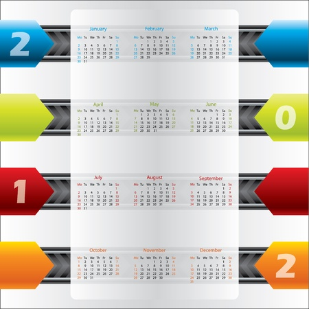 Color arrow calendar design for the year 2012 Stock Vector - 11016403