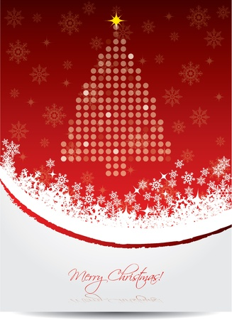 newyear card: Red christmas greeting card design with dotted tree