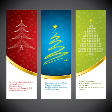 Christmas time banner set in various colors and design Vector