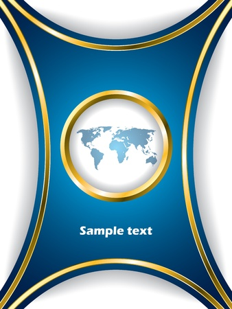 Blue brochure design with world map and shadows Vector