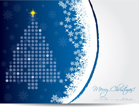 newyear card: Christmas greeting card design in blue color Illustration