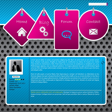 Website template design with dotted background and hanging labels Stock Vector - 11092204