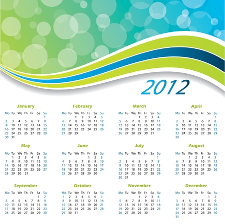 scheduler: 2012 wave calendar with green and blue