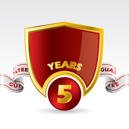 5 years guarantee shield design with ribbon Vector
