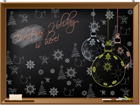 chalks: Christmas holiday hand-drawn on a blackboard with chalks