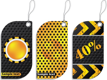 hazard stripes: Construction design label set with grunge and dotted effect
