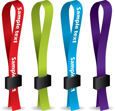 holders: Color lanyards with lock on white background