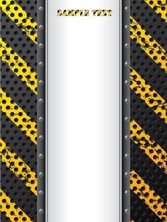 hazard stripes: Grunge industrial background design with screws and text