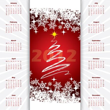 2012 christmas calendar with christmas tree and snowflakes Stock Vector - 11224706