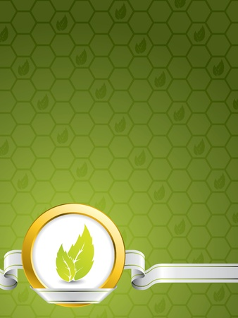 Eco background design with golden ring and green leaves Vector