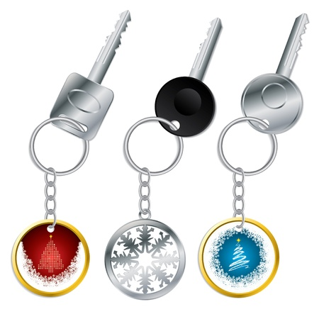 Christmas keyholder set for christmas holiday in various shapes and colors Vector