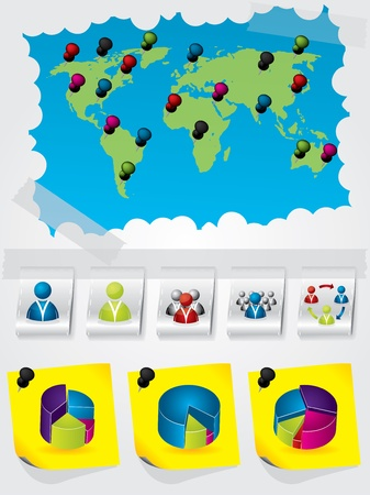 Information graphic design with various elements and colors Vector