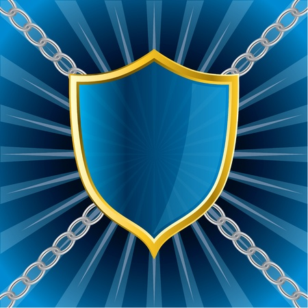 chained: Glossy shield on bursting background chained to corners Illustration