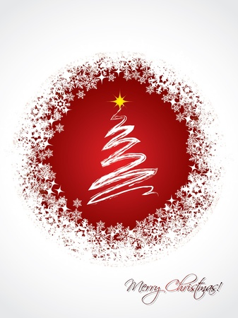 christmastree: White christmas greeting card design with red color and white tree in the middle
