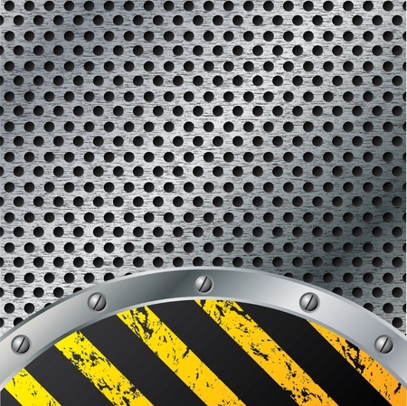 hazard damage: Metallic plate background with grunge striped warning Illustration