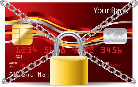 Secured red credit card with padlock and chains Vector