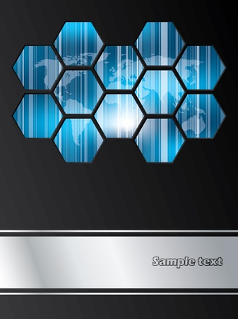 world  hexagon: Company brochure design with striped world map covered with hexagons