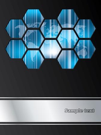 folleto: Empresa de dise�o de un folleto con mapa del mundo a rayas cubierta de hex�gonos