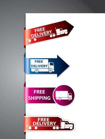 Free shipping labelsticker design set with trucks Vector