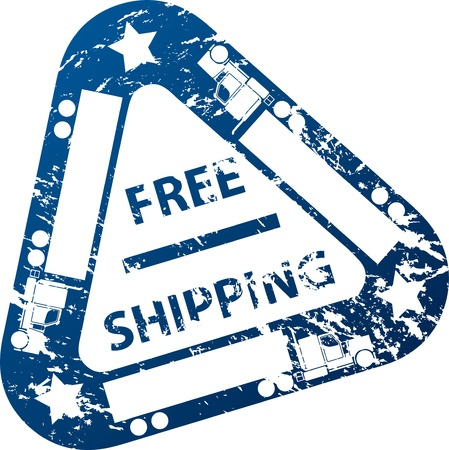 Free shipping stamp design with truck and trailer Stock Vector - 11549896
