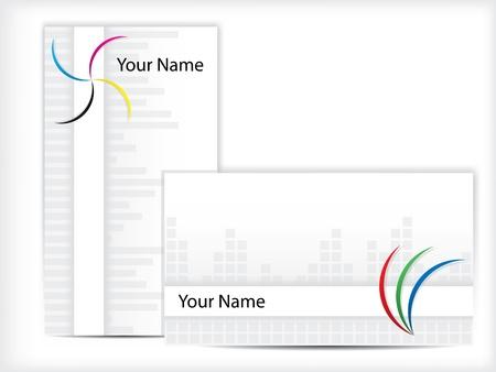 hojas membretadas: Diseño de tarjetas con elementos RGB y CMYK
