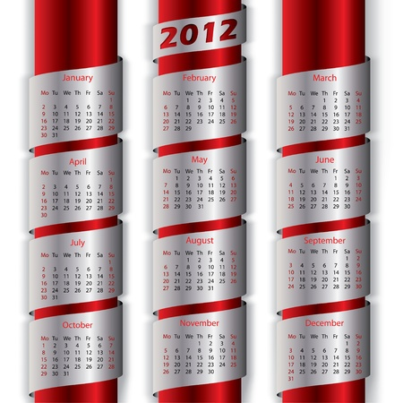 2012 calendar with metallic ribbons for the new year Vector