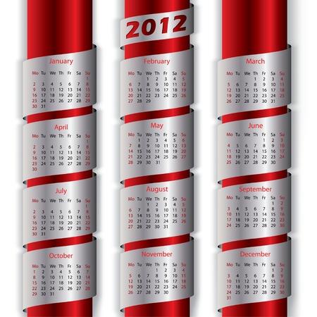 calendario noviembre: 2012 calendario con cintas metálicas para el nuevo año