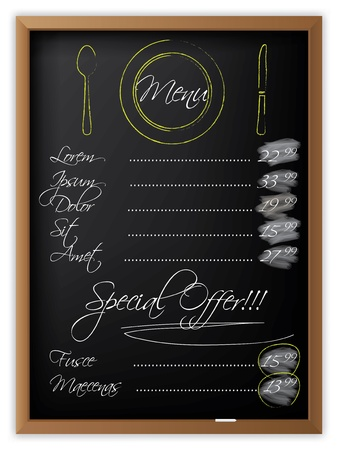 lavagna: Menu scritto su una lavagna e con piatti elaborati