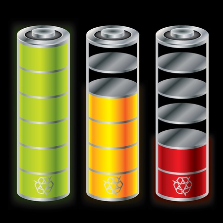 button batteries: Battery icon set showing different charge status Illustration