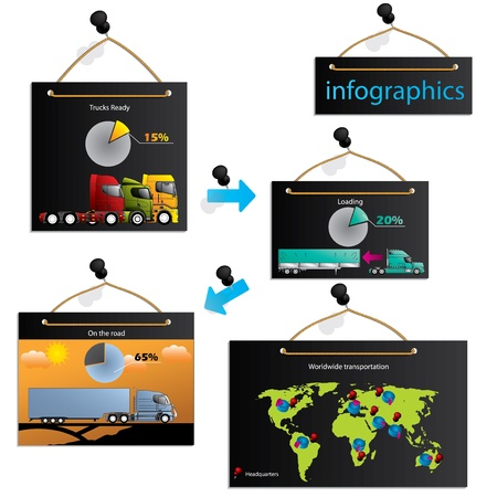 Transportation infographic with various information about loads and worldwide shipping Vector