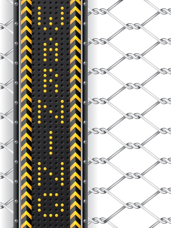 hazard stripes: Hazard background with wired fence and led warning