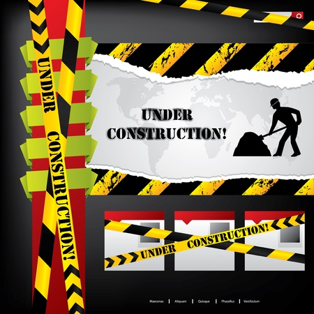 under construction road sign: Web site design with  construction under way