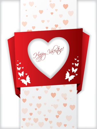 Origami valentine's day greeting card with hearts and butterflies Stock Vector - 11916409