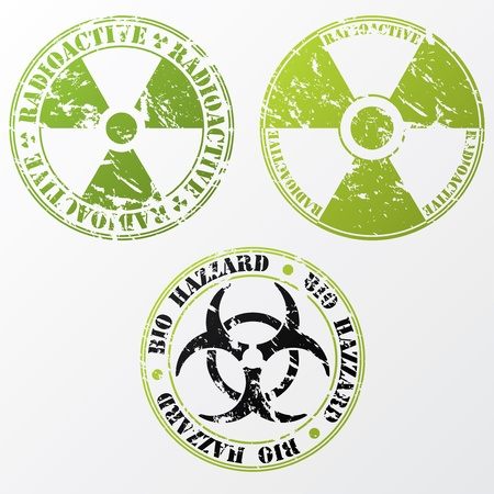 radioactive sign: Grunge bio hazard and radioactive stamp design