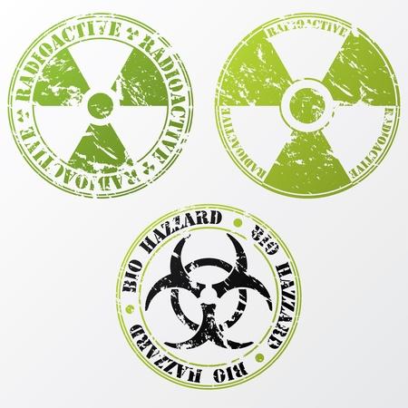 Grunge Bio Hazard y el diseño de sello radiactivo Ilustración de vector