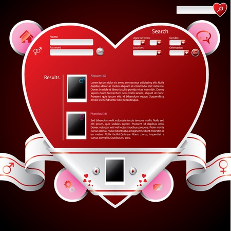 Ribbon wrapped heart shape website template design Vector