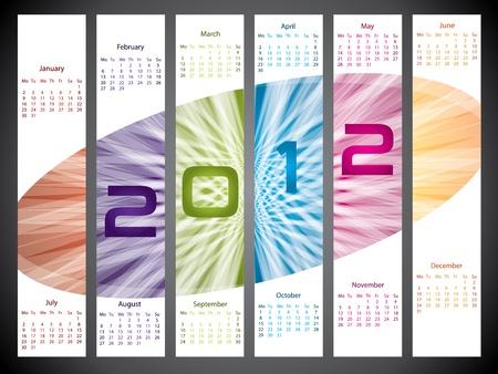 Bursting 2012 colorful label like calendar design Vector