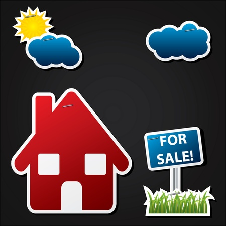 House sale advertising with color labels on black background Vector