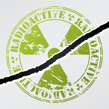 Radioactive seal damaged by crack on wall Vector