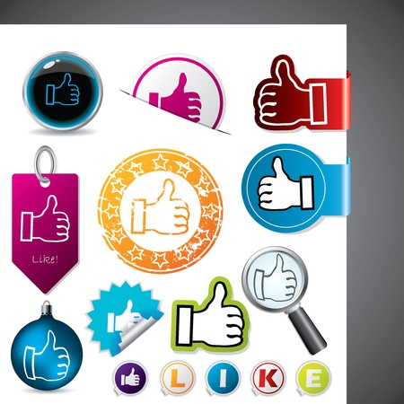 Thumbs up and like symbol on various elements Vector