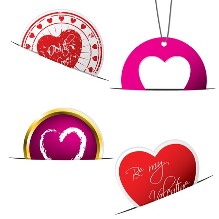 Various valentine badges  with heart shape elements Vector
