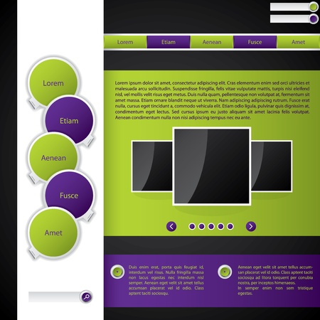 Website template with purple and green color combination Stock Vector - 12004328