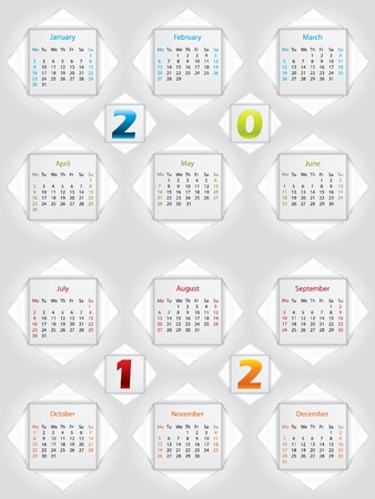 2012 paper calendar with ripped open months Vector